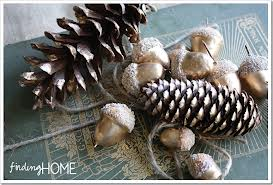 acorns with pine cones